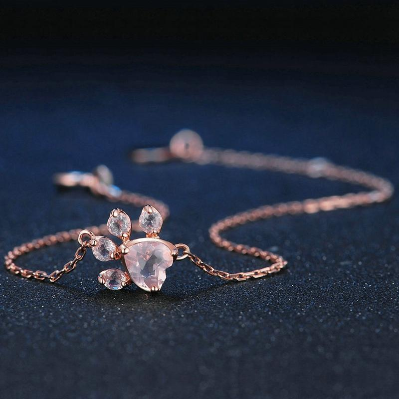 925 Silver Rose Gold Cat Paw Bracelet FreakyPet