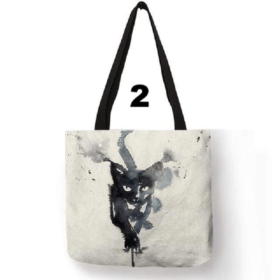 Double Side Printed Mystical Black Cat Tote Bags