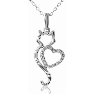 Meow Meow Kitty Rhinestone Necklace-FreakyPet