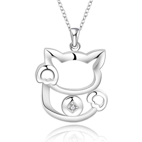 Classy Silver Cat Necklace
