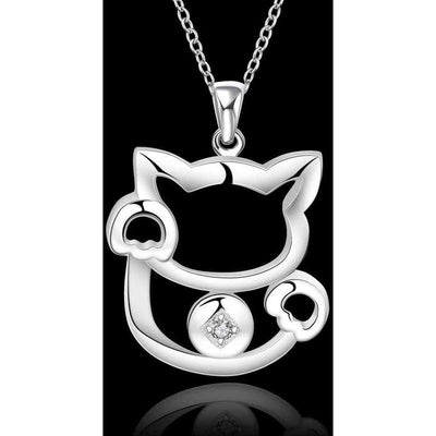 Classy Silver Cat Necklace-FreakyPet