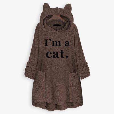 I'm A Cat Fluffy Fleece Oversize Hoodie With Cat Ears-Home-FreakyPet