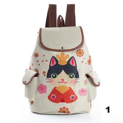 Retro Cute Cat Drawstring Backpacks