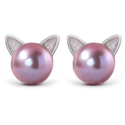 Precious 925 Sterling Silver Pearl Cat Ear Studs