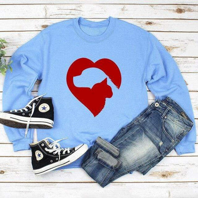 Cat & Dog Love Heart Long Sleeve Pullover