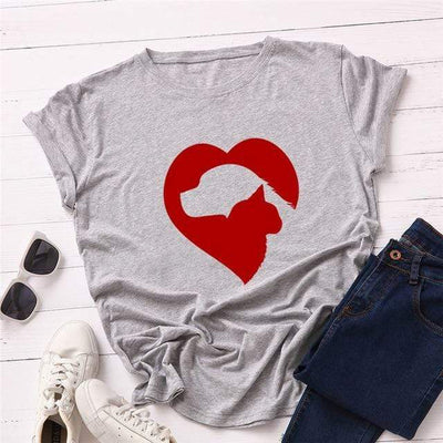 Cat & Dog Love Heart T-Shirt-T-Shirts-FreakyPet