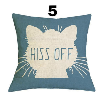 Cool Cat Print Cotton Linen Pillow Cases-Cushion Cover-FreakyPet