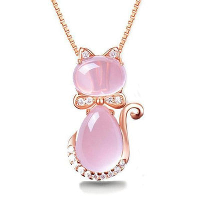 Cat Necklace in Rose Gold Plate with a Pink Quartz Crystal Rhinestone