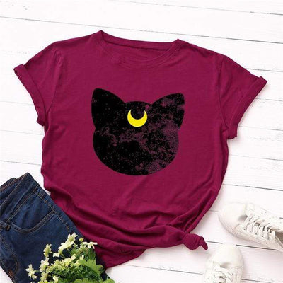 Mystical Black Cat Moon T-shirt-T-Shirts-FreakyPet