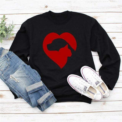 Cat & Dog Love Heart Long Sleeve Pullover-Hoodies & Sweatshirts-FreakyPet