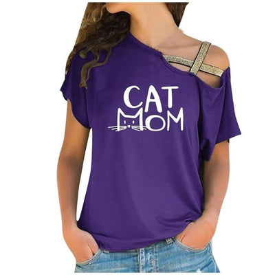 CAT MOM One Shoulder Off Oversize Tshirt