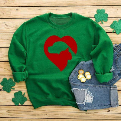 Cat & Dog Love Heart Long Sleeve Pullover-FreakyPet
