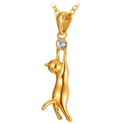 18K Gold- or Platinum-Plated Rhinestone Cat Necklace-FreakyPet
