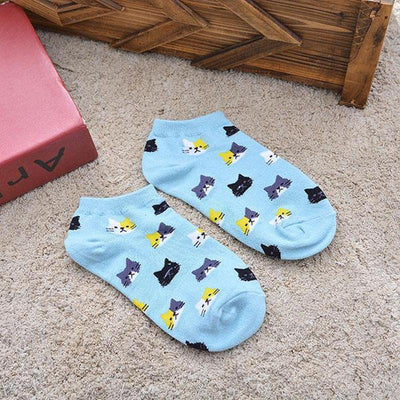 3 pair Cute Cat Face Cotton Socks-FreakyPet