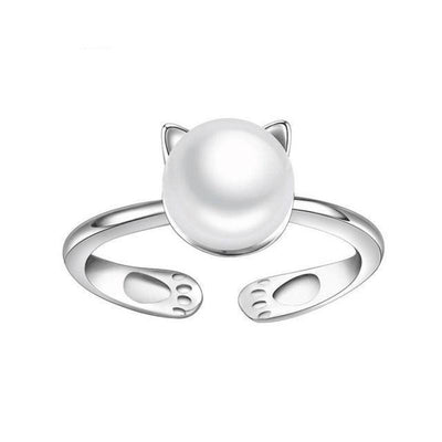 925 Sterling Silver Cat Pearl Ring-Rings-FreakyPet
