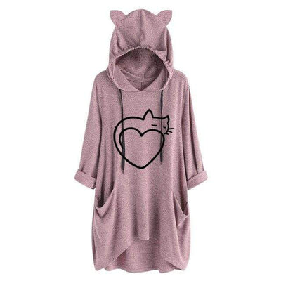 Twisted Tail Heart Cat Oversize Hoodie With Cat Ears-FreakyPet