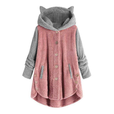 Bi-Color Cute Cat Fleece Coat Hoodies With Cat Ears-FreakyPet