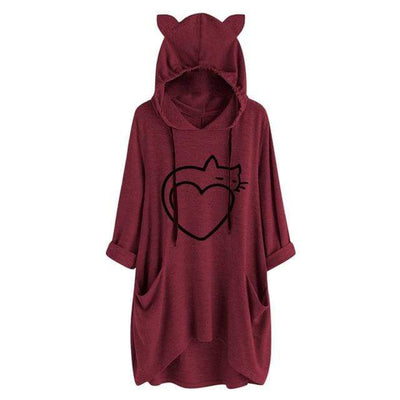 Twisted Tail Heart Cat Oversize Hoodie With Cat Ears
