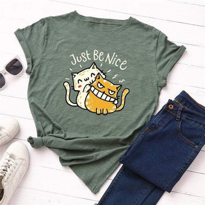 Just Be Nice Cat T-Shirt-T-Shirts-FreakyPet