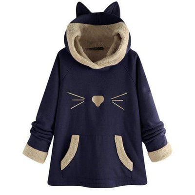 Cat Whisker Fleece Hoodie With Pouch & Cat Ears-FreakyPet