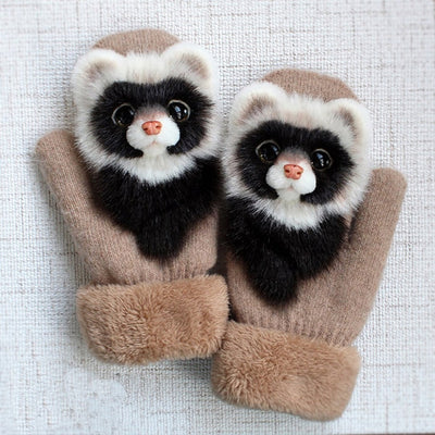 Cute Animals Warm Mittens Gloves-FreakyPet