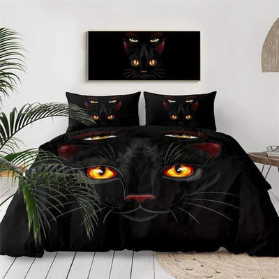 Black Gothic Cat Bedding Set