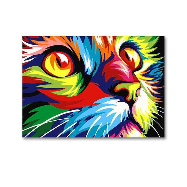 colorful cat pop art canvas painting unframed freakypet