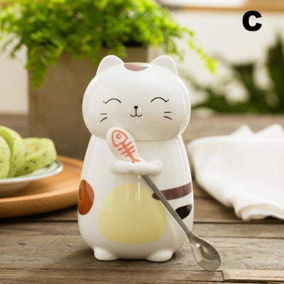 Large Kitty Cat Ceramic Mug With Spoon-Mugs-FreakyPet