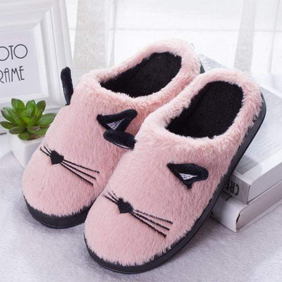 Fuzzy Kitty Couple Slippers-Home-FreakyPet