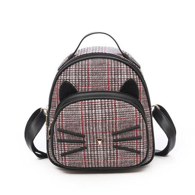 Vintage-Look Cat Plaid Backpack-Backpacks-FreakyPet