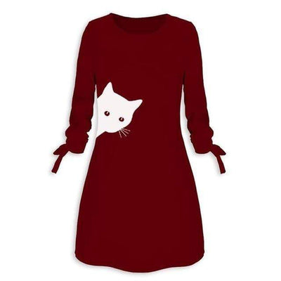 Peeking Kitty Cat Dress-Dresses-FreakyPet