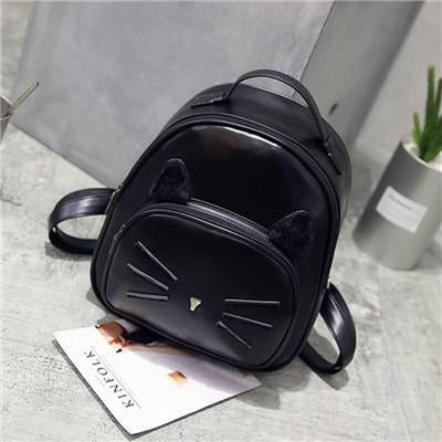 Elegant Shoulder Leather Cat Bag
