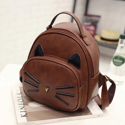 Vintage Leather Cat Backpack-Backpacks-FreakyPet