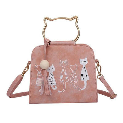 Luxury 5 Cat Friends Handbag-Shoulder Bags-FreakyPet