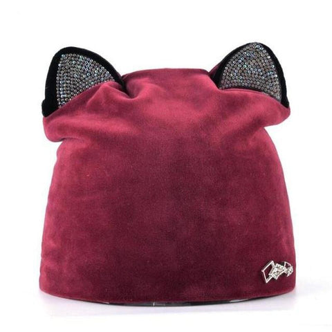 Cat Ear Beanie White And Pink