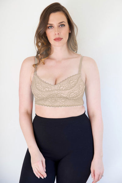 The Dairy Fairy Hands Free Nursing/Pumping Bra - Ayla - Champagne