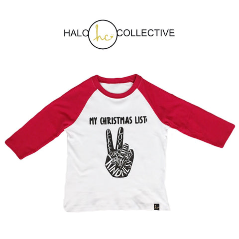 Peace Sign Christmas List Raglan