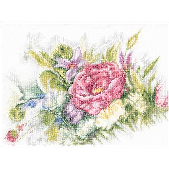 Watercolor Flowers Counted Cross Stitch Kit