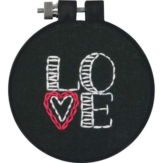 "Love Stamped Embroidery Kit - 3"" round"