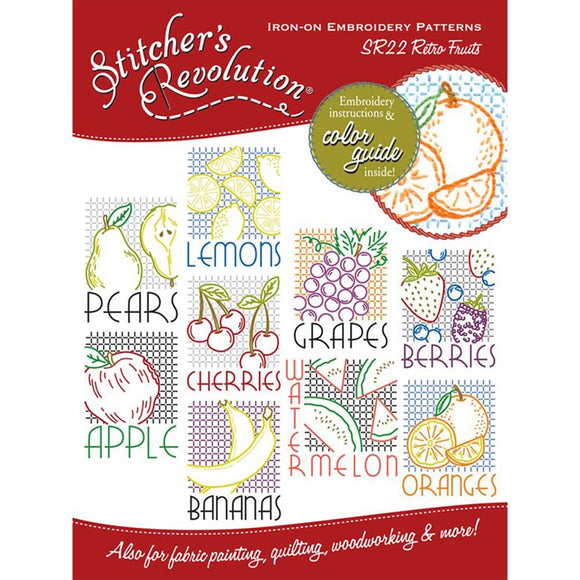 Stitcher's Revolution Iron-On Transfers-Retro Fruit