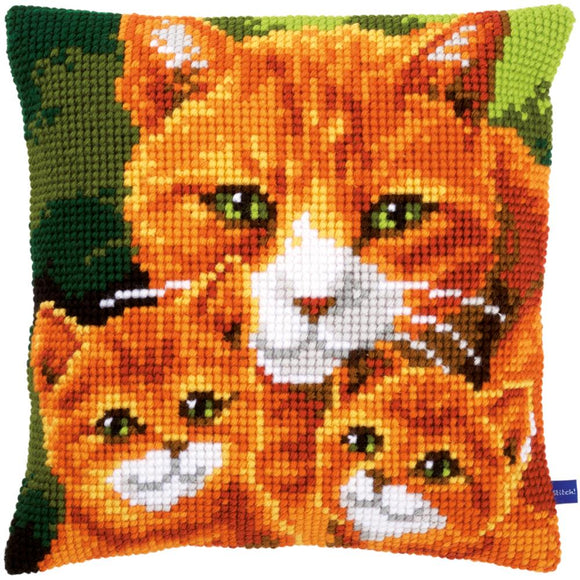 Cats Family Cushion Stamped Cross Stitch Kit