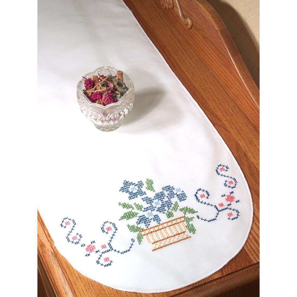 "Flower Basket Stamped Cross Stitch Perle Edge Dresser Scarf Table Runner - 15"" x 42"""