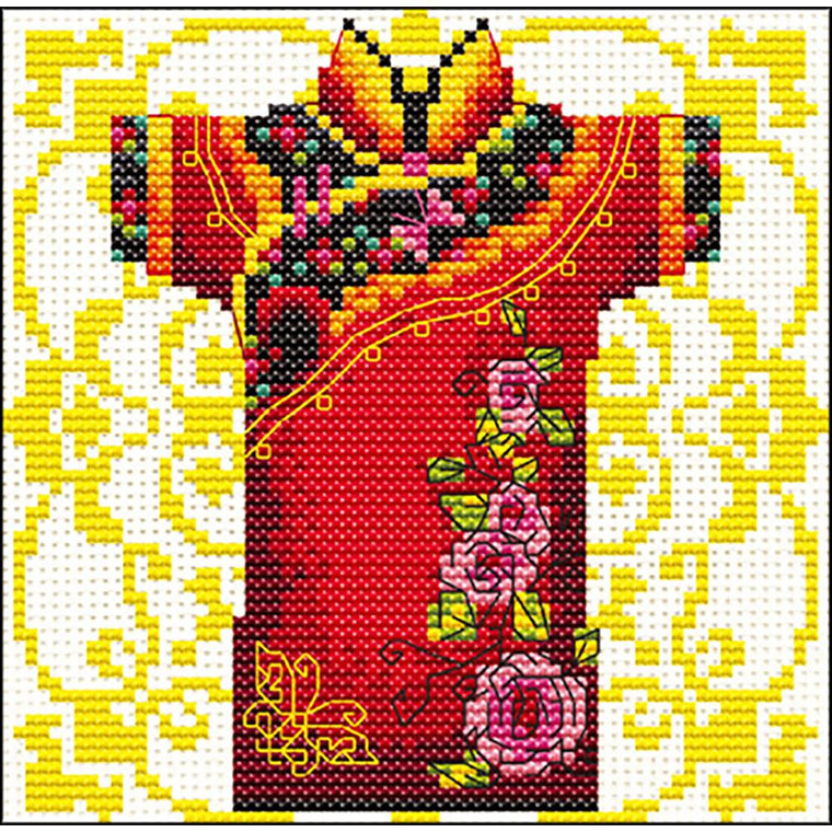 "Male Geisha Rose Stamped Cross Stitch Kit - 14 count 4.75"" x 4.75"""