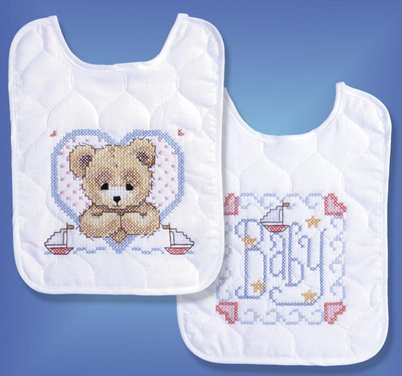 Bedtime Prayer (Boy) Bib Pair Stamped Cross Stitch Kit