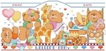 Bouncing Bears Birth Record Cross Stitch Pattern