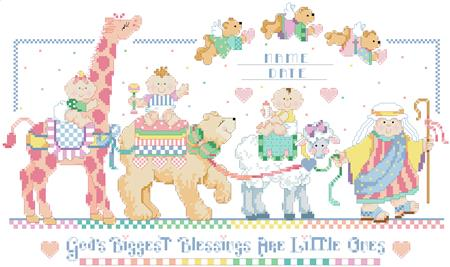 Bless This Baby Birth Record Cross Stitch Pattern