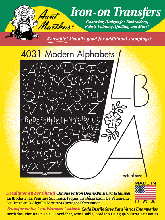 Aunt Martha's Iron-On Transfer - Modern Alphabets