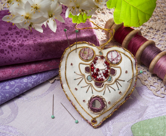 Antique Heart Pincushion Goldwork Embroidery Kit