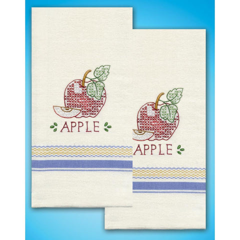 "Stamped Kitchen Towels For Embroidery 20""X28"" 2/Pkg-Apple"