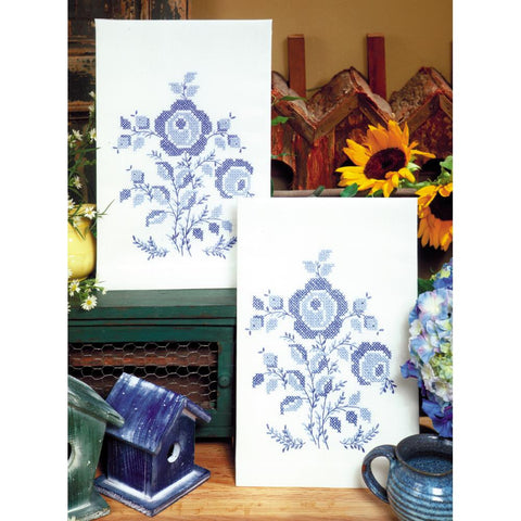 "Stamped Kitchen Towels For Embroidery 17""X30"" 2/Pkg-Blue Rose"